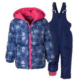 Pink Platinum 4-6X Girls 2-Piece Fleece Lined Bib Snowsuit Heart Denim Print