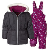 Pink Platinum 4-6X Girls 2-Piece Fleece Lined Bib Snowsuit Floral Print Charcoal