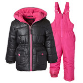 Pink Platinum Toddler Girls 2-Piece Silver Foil Bib Snowsuit
