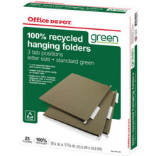 "Hanging Folders Letter Green ""Box Of 25"""