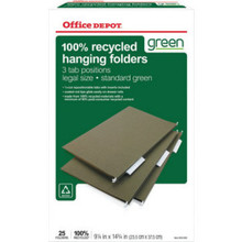 "Hanging Folders Legal Green ""Box Of 25"""