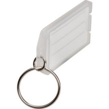 "Clr Plastic Id Tag W/Key Ring""Pkg Of 10"""