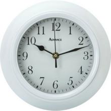 "9"" Plastic Wall Clock White Glass Lens"
