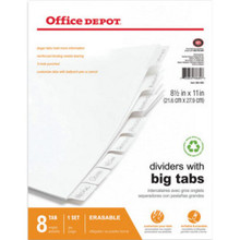 Erasable Big Tab Dividers 8-Tab Wh