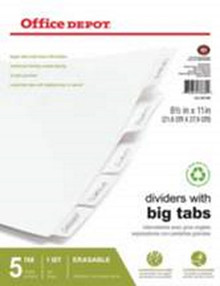 Erasable Big Tab Dividers 5-Tab Wh