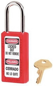 "Red #411 3"" Safety Lockout Padlock"