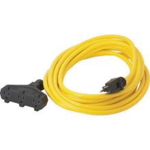 50' 12/3 Sjtw Yellow Triple Tap Ext Cord