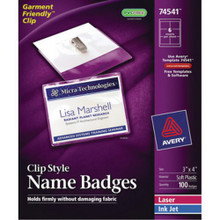 Avery Clip-On Name Badge Kits 100/Bx