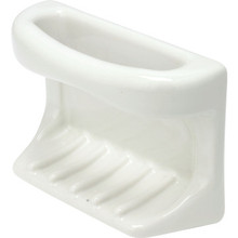 White Porcelain Soap Holder With Rag Bar Tile-in Mount