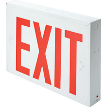 NYC Approved White Steel LED Red Exit Sign With Battery Back