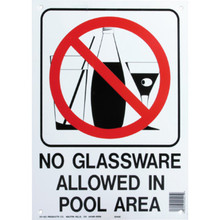 "Pool Sign ""No Glassware Allowed In Pool Area"""