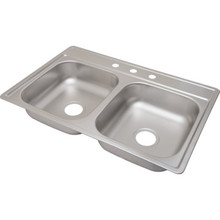 "Aspen 22 X 33"" Double Bowl Kitchen Sink Stainless Steel 3 Hole 6"" Depth"