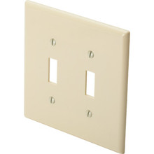 Midsize Double Gang Toggle Switch Wall Plate - White - Package Of 25