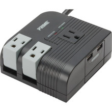 Desktop Surge Protector, 3 Outlets with 2 Port USB