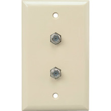 Dual Cable TV Wall Jack Plate - Ivory - Package of 2