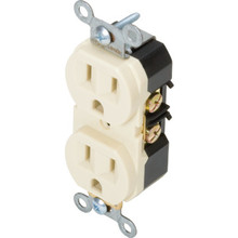 15 Amp Commercial Duplex Receptacle - Back & Side Wired - Ivory - Package of 10