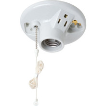 Medium Base Socket Pull Chain One-Light Porcelin Ceiling Ivory