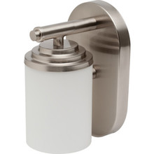 One-Light 13 Watt Wall Sconce Brushed Nickel Frosted White Cylinder Glass