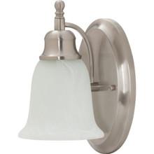 One-Light 13 Watt Wall Sconce Satin Nickel Alabaster-Style Glass