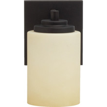One-Light 13W Fluorescent Wall Sconce Oil-Rubbed Bronze Satin Bisque Glass