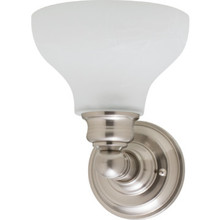 One-Light Wall Sconce Brushed Nickel Alabaster-Style Glass