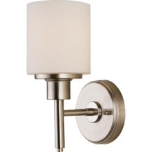 One-Light Wall Sconce Brushed Nickel White Glass