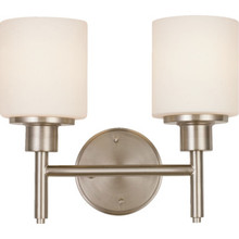 Aubrey Two-Light Vanity Brushed Nickel White Cylinder Glass