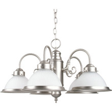 Five-Light Chandelier Brushed Nickel Frosted Ribbed Glass