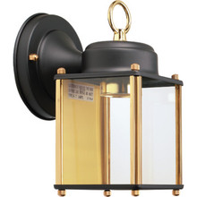 Black and Polished Brass Porch Lantern
