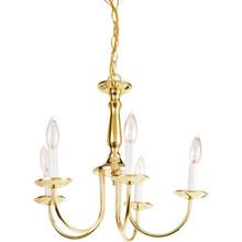 Five-Light Candelabra Chandelier Polished Brass