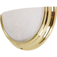 One-Light 13W Fluorescent Wall Polished Brass Alabaster-Style Glass