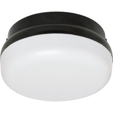 Outdoor Fluorescent Round Ceiling Fixture 26 Watt Black, White Lens