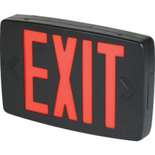 Black Thermoplastic LED Red Exit Sign With Emergency Battery Back Up