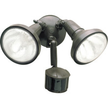 Cooper Two-Light Incandescent Motion Detector Floodlight Fixture Bronze