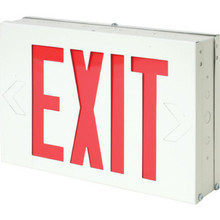 White Steel LED Red Exit Sign