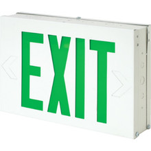 White Steel LED Green Exit Sign With Battery Back Up