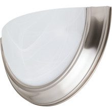One-Light 13W Fluorescent Wall Sconce Brushed Nickel Alabaster-Style Glass