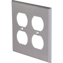 Double Gang Duplex Wall Plate - Stainless Steel