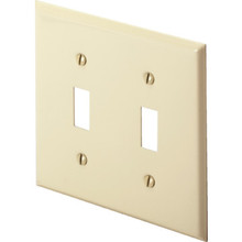 Hubbell Double Gang Toggle Switch Wall Plate - Ivory - Package of 25