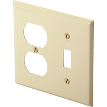 Double Combo Wall Plate - Painted Steel - Ivory - Package of 10