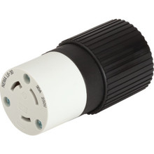 Female Grounded Locking Connector - 30 Amp - 250 Volt - Black/White