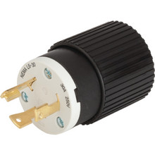 Male Grounded Locking Plug - 30 Amp - 250 Volt - Black/White