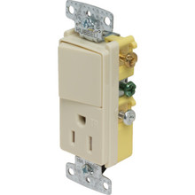 15 Amp Decorator Switch/TR Receptacle Combo - Ivory
