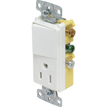 15 Amp Decorator Switch/TR Receptacle Combo -White