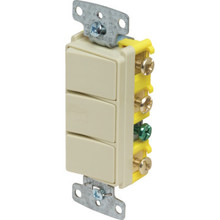 15 Amp Decorator Triple Stack Switch - Ivory