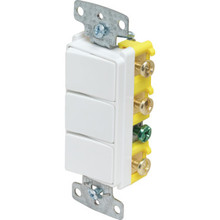 15 Amp Decorator Triple Stack Switch -White