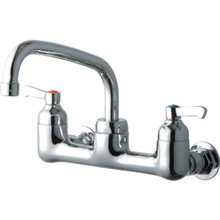Elkay Service Faucet ChromeTwo Handle Wall Mount Arch Spout