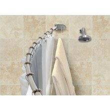 Crescent Curved Shower Rod With Integrated Clothesline Chrome