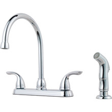 Pfister Pfirst Series Kitchen Faucet Chrome Two Handle With Spray