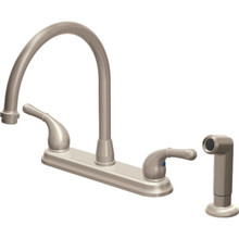 Seasons Raleigh Kitchen Faucet Brushed Nickel Two Handle With Spray